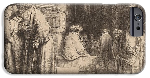 Religious Drawings iPhone Cases - Jews in the Synagogue iPhone Case by Rembrandt