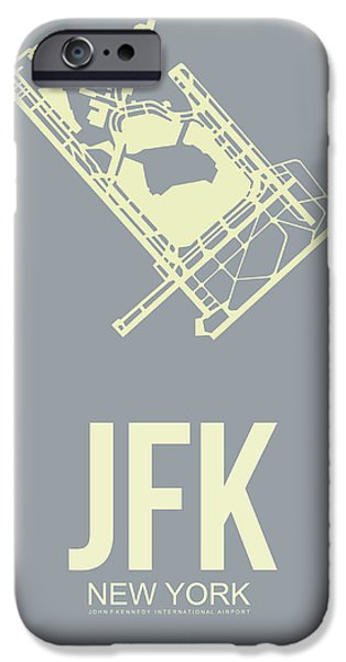 Nyc Mixed Media iPhone Cases - JFK Airport Poster 1 iPhone Case by Naxart Studio