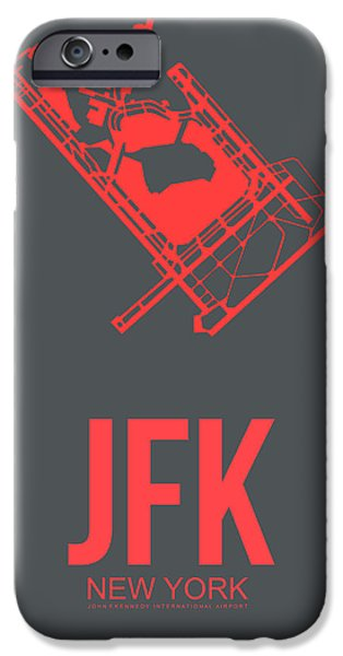 Town Mixed Media iPhone Cases - JFK Airport Poster 2 iPhone Case by Naxart Studio
