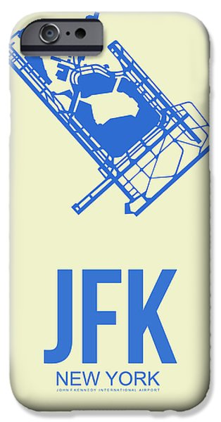 Town iPhone Cases - JFK Airport Poster 3 iPhone Case by Naxart Studio