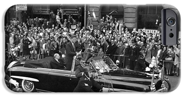 Cheer On iPhone Cases - JFK Cavalcade Dublin 1963 iPhone Case by Irish Photo Archive