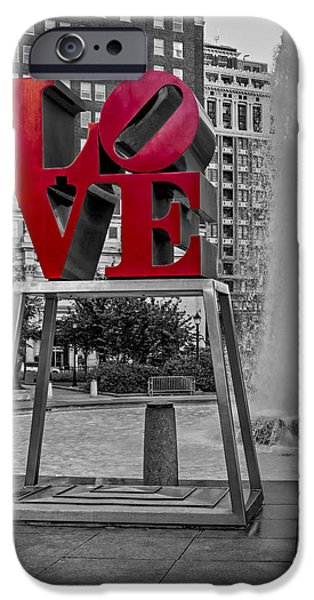 Signs iPhone Cases - JFK Plaza Love Park BW I iPhone Case by Susan Candelario