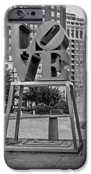 Sign iPhone Cases - JFK Plaza Love Park BW  iPhone Case by Susan Candelario