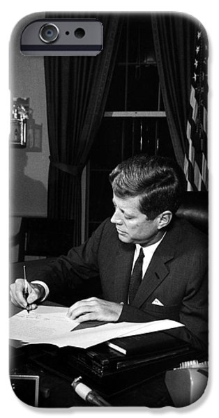 Crisis iPhone Cases - JFK Signing The Cuba Quarantine iPhone Case by War Is Hell Store