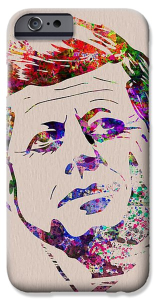 President iPhone Cases - JFK Watercolor iPhone Case by Naxart Studio