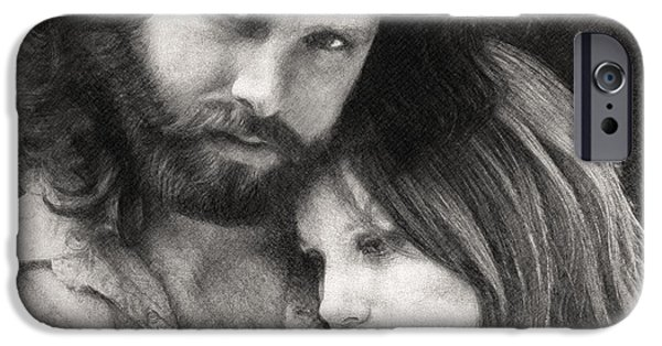 Music Drawings iPhone Cases - Jim and Pam iPhone Case by Taylan Soyturk