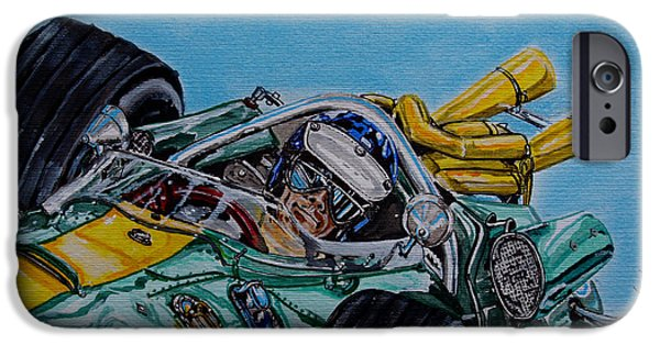 Indy Car iPhone Cases - Jim Clark Indy 500 iPhone Case by Juan Mendez