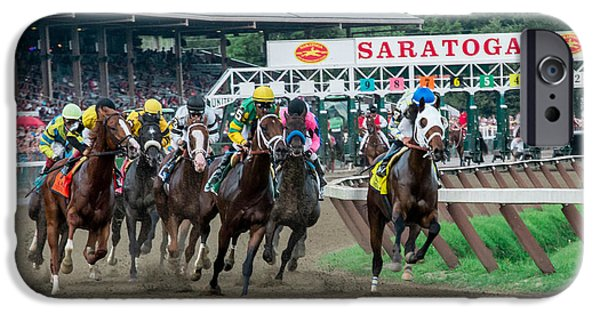 Horse Racing Photographs iPhone Cases - Jim Dandy Stakes iPhone Case by William Stephen