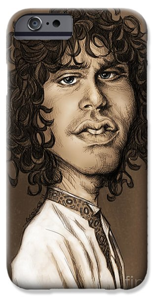 Caricature Digital Art iPhone Cases - Jim Morrison iPhone Case by Andre Koekemoer