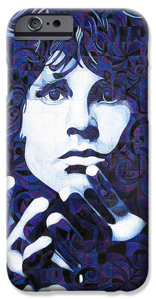 Celebrity Drawings iPhone Cases - Jim Morrison Chuck Close Style iPhone Case by Joshua Morton