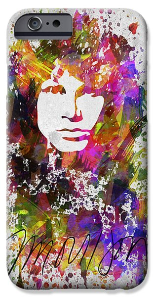 Celebrities Digital iPhone Cases - Jim Morrison in Color iPhone Case by Aged Pixel