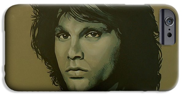Storms Paintings iPhone Cases - Jim Morrison iPhone Case by Paul  Meijering