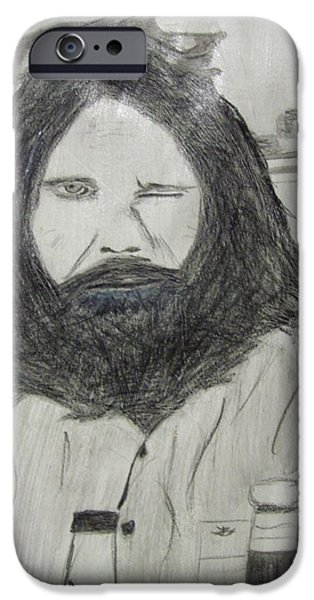 Abstract Digital Art Drawings iPhone Cases - Jim Morrison Pencil iPhone Case by Jimi Bush