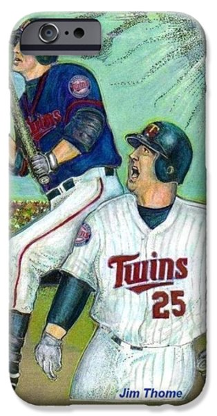 Minnesota Twins Mixed Media iPhone Cases - Jim Thome hits 600th with Twins iPhone Case by Ray Tapajna