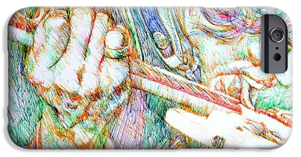 Stratocaster Drawings iPhone Cases - JIMI and his GUITAR iPhone Case by Fabrizio Cassetta