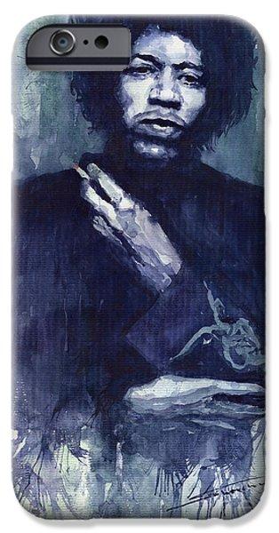 Rock Stars Paintings iPhone Cases - Jimi Hendrix 01 iPhone Case by Yuriy  Shevchuk