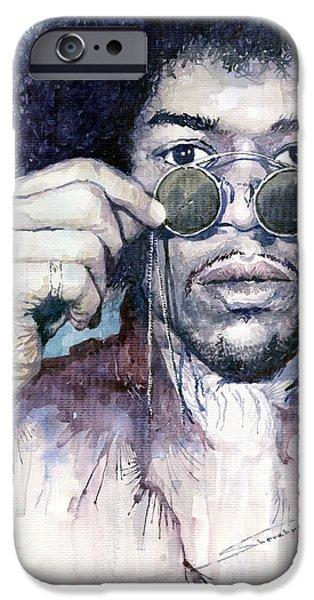 Jimi Hendrix iPhone Cases - Jimi Hendrix 08 iPhone Case by Yuriy  Shevchuk