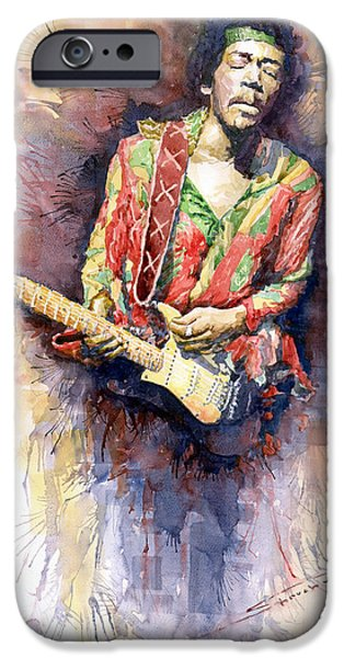 Watercolors Paintings iPhone Cases - Jimi Hendrix 09 iPhone Case by Yuriy  Shevchuk