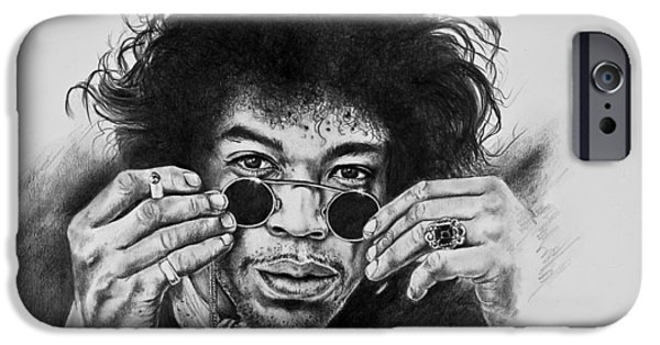 Stratocaster Drawings iPhone Cases - Jimi Hendrix iPhone Case by Art Imago