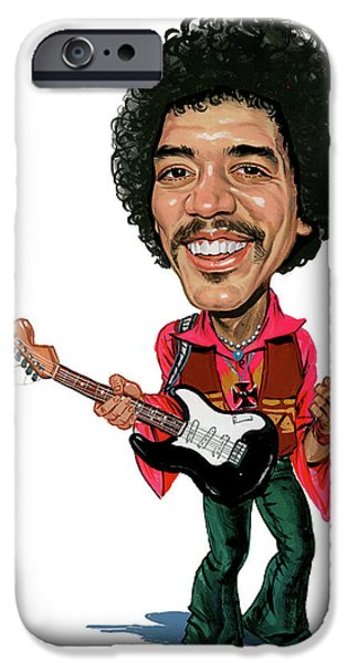 Greatest Electric Guitarist iPhone Cases - Jimi Hendrix iPhone Case by Art