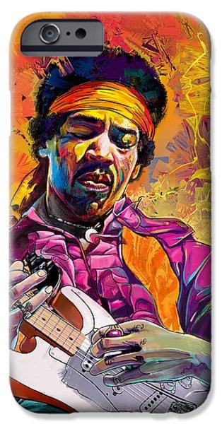 Greatest Electric Guitarist iPhone Cases - Jimi Hendrix #1 4u2c iPhone Case by Ruben Furio