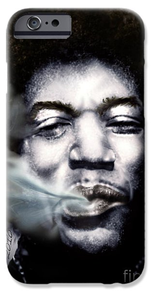 Smoke iPhone Cases - Jimi Hendrix-Burning Lights-2 iPhone Case by Reggie Duffie