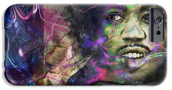 Greatest Electric Guitarist iPhone Cases - Jimi Hendrix iPhone Case by Christine Mayfield