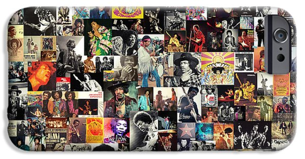 James Marshall Jimi Hendrix iPhone Cases - Jimi Hendrix Collage iPhone Case by Taylan Soyturk
