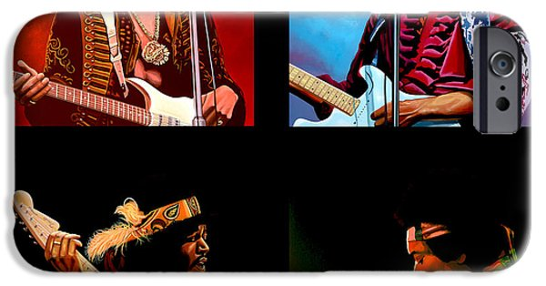Flames Paintings iPhone Cases - Jimi Hendrix Collection iPhone Case by Paul  Meijering