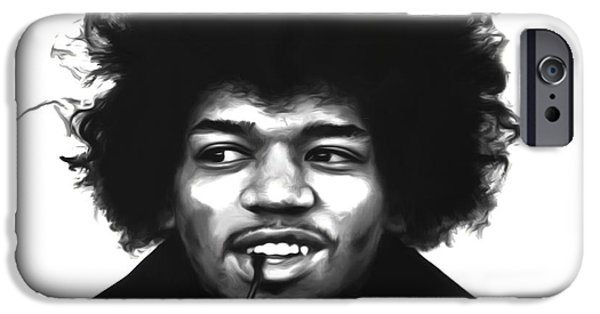 James Marshall Jimi Hendrix iPhone Cases - Jimi Hendrix Crash Landing iPhone Case by Brian Reaves