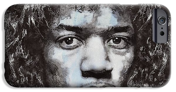 Young Digital Art iPhone Cases - Jimi Hendrix iPhone Case by Daniel Hagerman