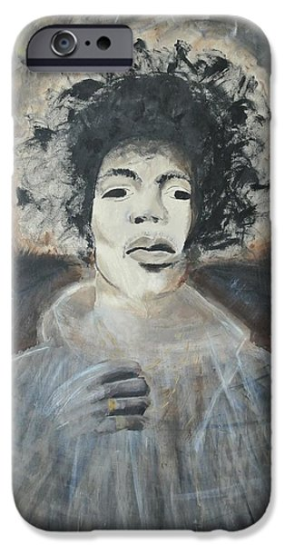 Star Spangled Banner Paintings iPhone Cases - Jimi Hendrix iPhone Case by Elise Boysaw