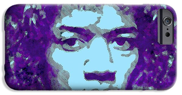 Young Digital Art iPhone Cases - JIMI HENDRIX in PURPLE iPhone Case by Daniel Hagerman