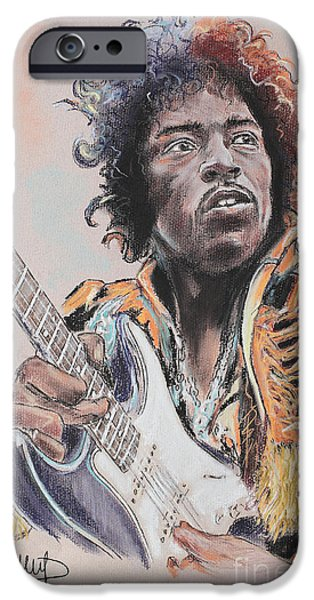 Blue Pastels iPhone Cases - Jimi Hendrix iPhone Case by Melanie D
