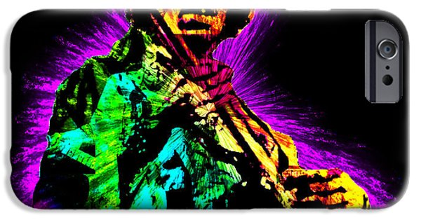 Greatest Electric Guitarist iPhone Cases - Jimi Hendrix iPhone Case by Michael Lee