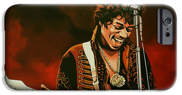 Idol Paintings iPhone Cases - Jimi Hendrix iPhone Case by Paul  Meijering