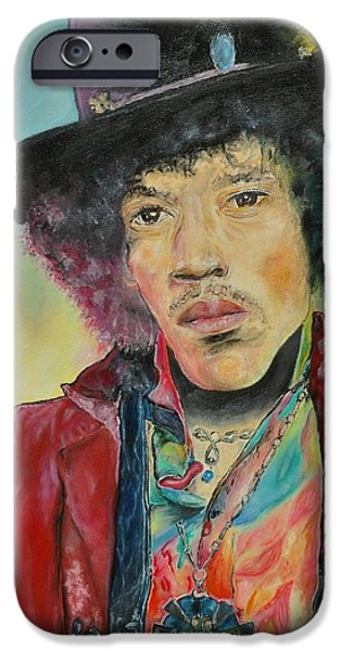 Music Pastels iPhone Cases - Jimi Hendrix iPhone Case by Paula Sharlea