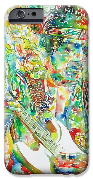 JIMI HENDRIX PLAYING THE GUITAR PORTRAIT.1 iPhone Case by Fabrizio Cassetta