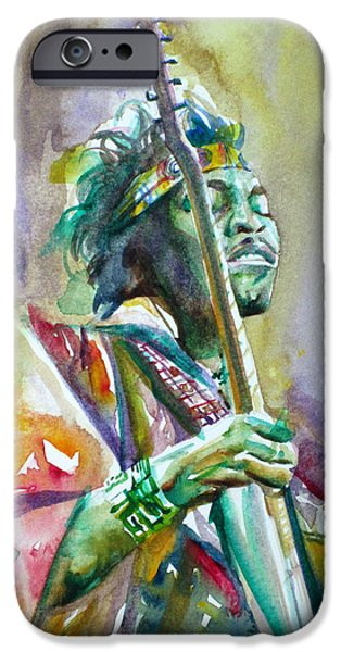 Experience Paintings iPhone Cases - JIMI HENDRIX playing the guitar.5 -watercolor portrait iPhone Case by Fabrizio Cassetta