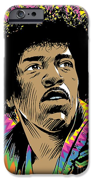 Jimi Hendrix Pop Art iPhone Case by Jim Zahniser