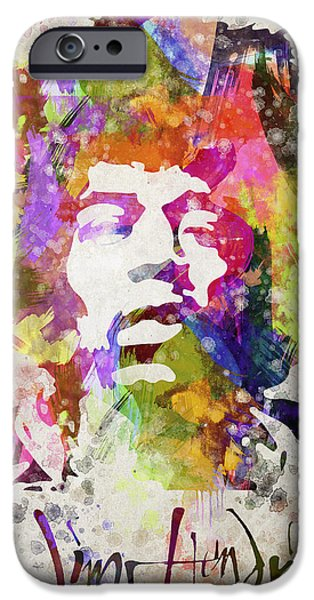 Johnny Allen Hendrix iPhone Cases - Jimi Hendrix Portrait iPhone Case by Aged Pixel