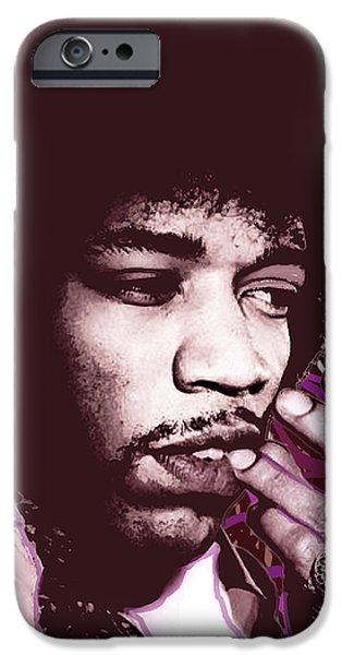 Jimi Hendrix Purple Haze Red iPhone Case by Tony Rubino