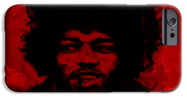 James Marshall Jimi Hendrix iPhone Cases - Jimi Hendrix Red iPhone Case by Brian Reaves