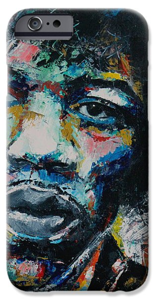 Abstract Expression iPhone Cases - Jimi Hendrix iPhone Case by Richard Day