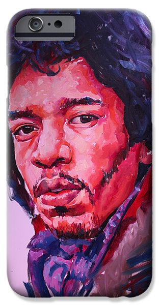 Art Of Soul Music iPhone Cases - Jimi Hendrix iPhone Case by Tachi Pintor
