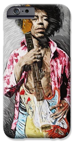 Jimi Hendrix iPhone Cases - Jimi Hendrix iPhone Case by Taylan Soyturk