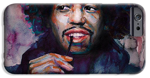 James Marshall Jimi Hendrix iPhone Cases - Jimi Hendrix watercolor iPhone Case by Laur Iduc