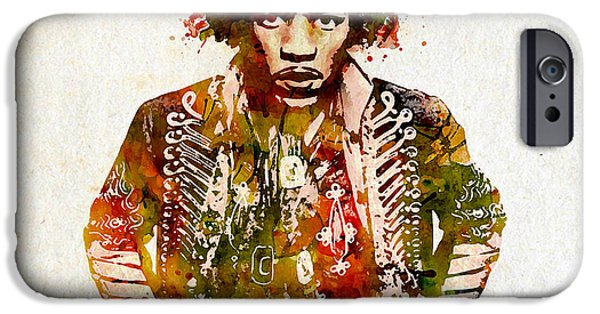 Red Rock Mixed Media iPhone Cases - Jimi Hendrix watercolor iPhone Case by Marian Voicu