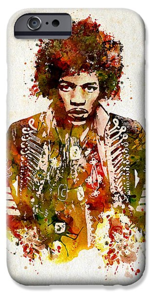 Marian iPhone Cases - Jimi Hendrix watercolor iPhone Case by Marian Voicu