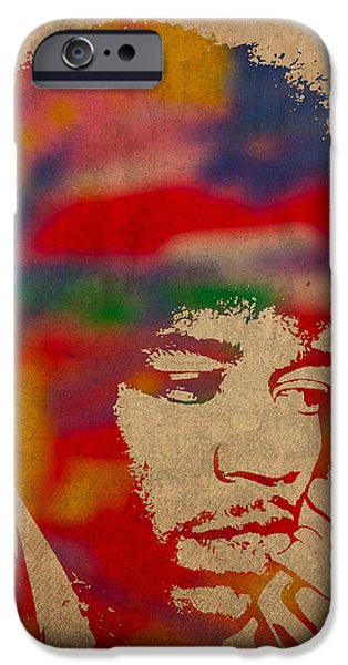 Jimi Hendrix iPhone Cases - Jimi Hendrix Watercolor Portrait on Worn Distressed Canvas iPhone Case by Design Turnpike